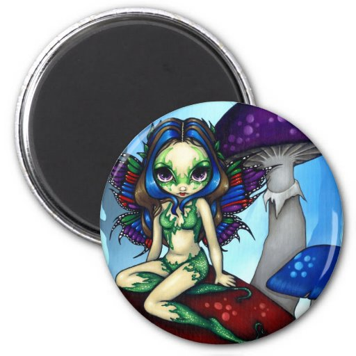 """Masked Fairy on the Mushrooms"" Magnet"