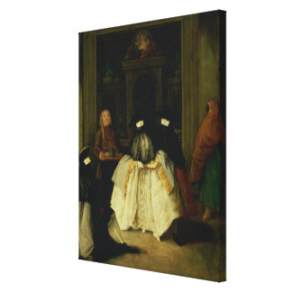 Masked Figures in a Venetian Coffee House Canvas Print