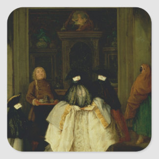 Masked Figures in a Venetian Coffee House Square Sticker