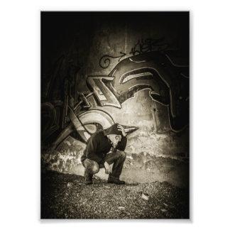 Masked Graffiti Artist Vignette Photo Print