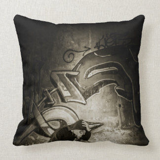 Masked Graffiti Artist Vignette Throw Pillow