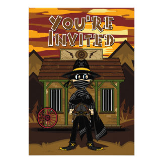 Masked Gunslinger at Jail Party Invite
