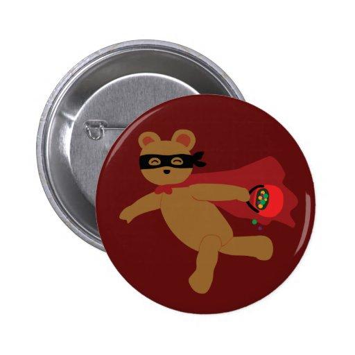 Masked Halloween Bear Button