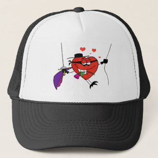 Masked Heart Swinging On A Rope And Biting A Rose Trucker Hat