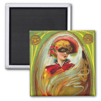 Masked Lady Halloween Greetings 2 Inch Square Magnet