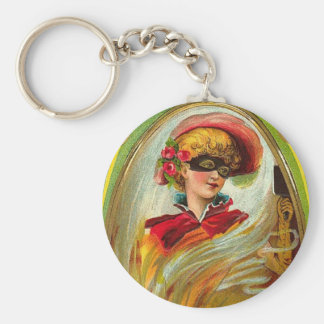 Masked Lady Halloween Greetings Basic Round Button Keychain