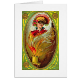Masked Lady Halloween Greetings Card
