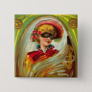 Masked Lady Halloween Greetings Pinback Button