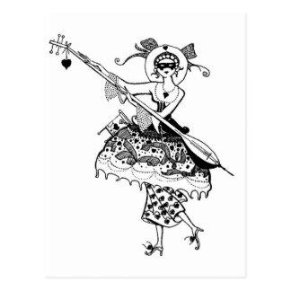 Masked Lady Postcard
