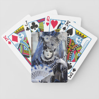 Masked Lady With Blue Carnival Costume Bicycle Playing Cards