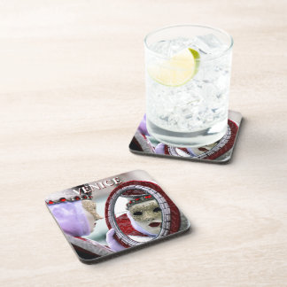 Masked Lady With Mirror Beverage Coaster