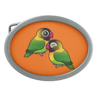 Masked Lovebird Adorable Pair Oval Belt Buckles