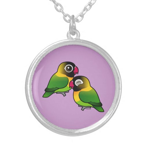 Masked Lovebird Adorable Pair Personalized Necklace