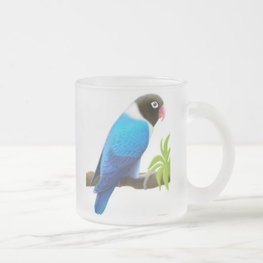 Masked Lovebird Frosted Glass Mug