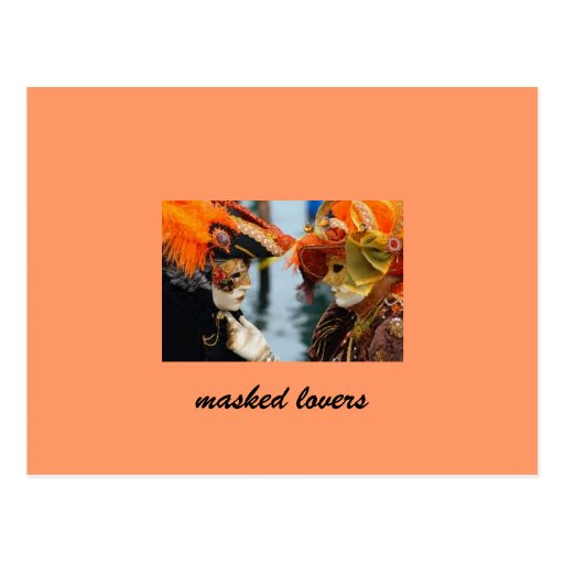 masked lovers of Venice Postcard