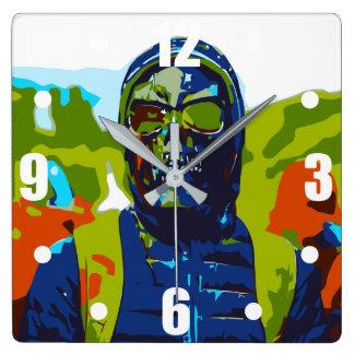 Masked man square wall clock