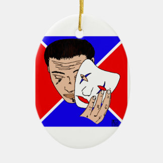 Masked Man with Bold Red and Blue Backdrop Ceramic Ornament