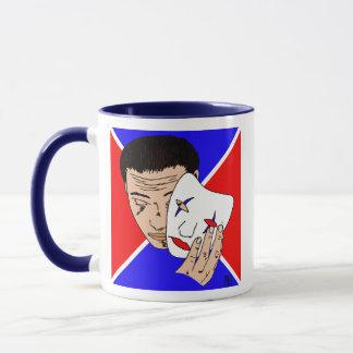 Masked Man with Bold Red and Blue Backdrop Mug