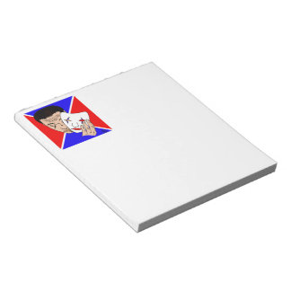 Masked Man with Bold Red and Blue Backdrop Memo Note Pad
