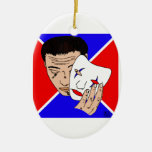 Masked Man with Bold Red and Blue Backdrop Christmas Ornaments