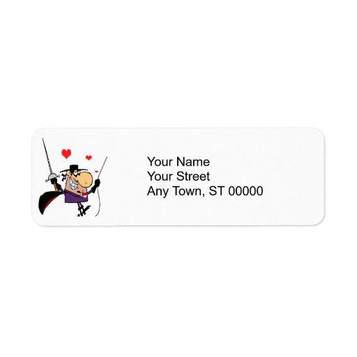 masked man with sword cartoon return address label