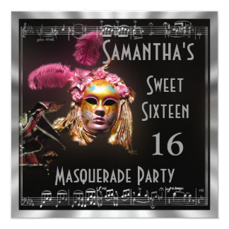 Masked masquarade ball sixteen party card