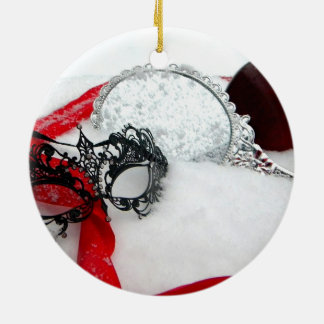 Masked Queens Snow Ceramic Ornament