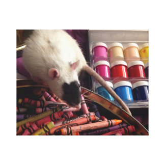 Masked rat with crayons and paint canvas print