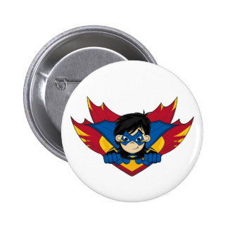 Masked Superhero Girl Badge Button