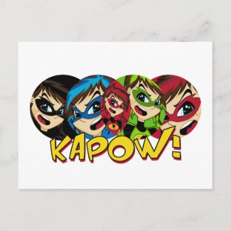 Masked Superhero Girl Postcard postcard