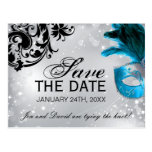 Masked Wedding Save the Date Postcard