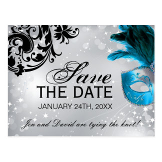 Masked Wedding Save the Date Post Card