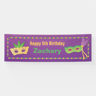Masks and Beads Mardi Gras Birthday Party Banner
