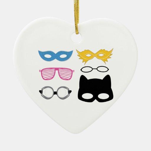 Masks and glasses ceramic ornament