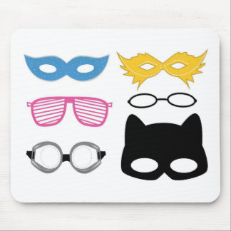 Masks and glasses mouse pad