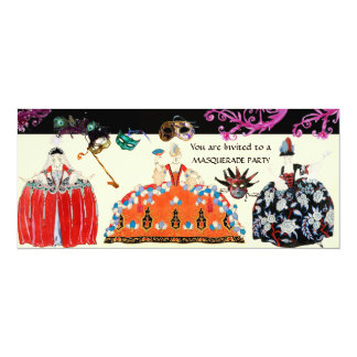 MASKS AND ROCOCO LADY MARDI GRAS MASQUERADE PARTY CARD