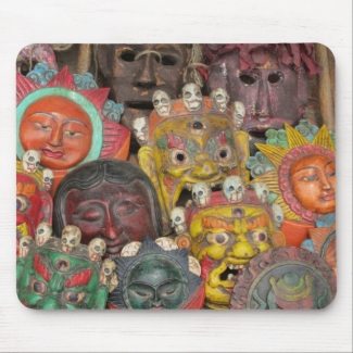 Masks at Boudhanath Mousepads