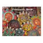 Masks at Boudhanath Postcard