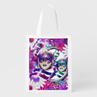 Masks on wild flower hearts grocery bag