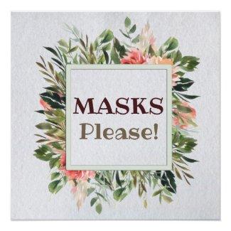 Masks Please Watercolor Flowers Poster Print