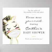 Masks Required Baby Zebra Shower Sign