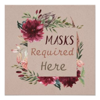 Masks Required Flowers and Feathers Poster Print