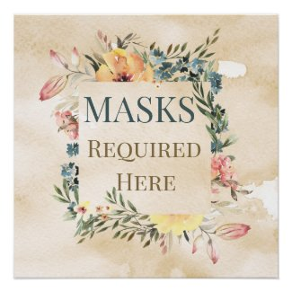 Masks Required Here Charming Poster Print