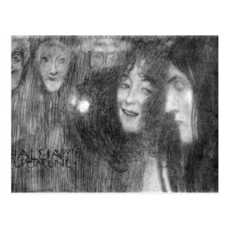 Masks Thalia and Melpomene by Klimt Postcard