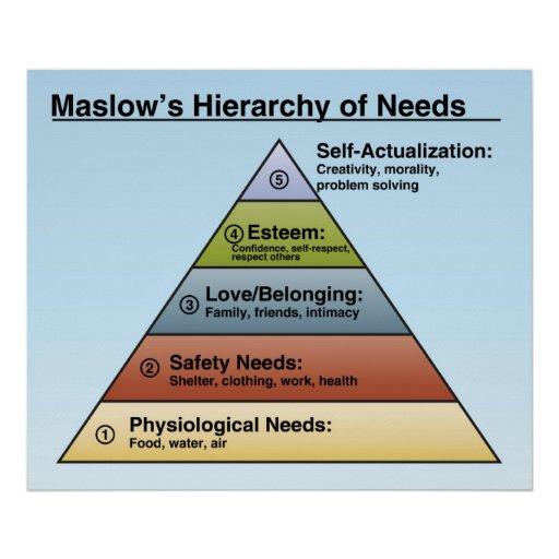 Classroom Design Psychology ~ Maslow s hierarchy of needs classroom poster zazzle
