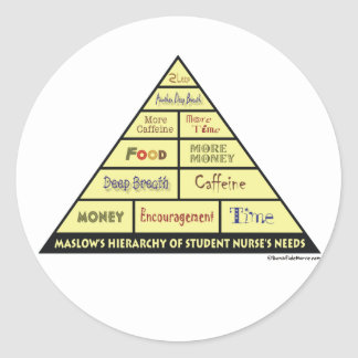 Maslow's Hierarcy of Student Nurse Needs Classic Round Sticker