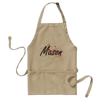 Mason Artistic Job Design with Hearts Adult Apron
