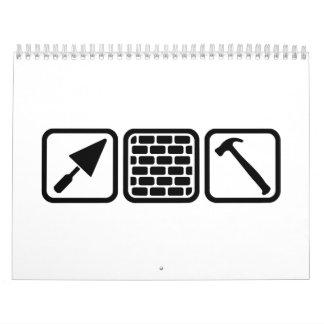Mason brick wall tools wall calendars