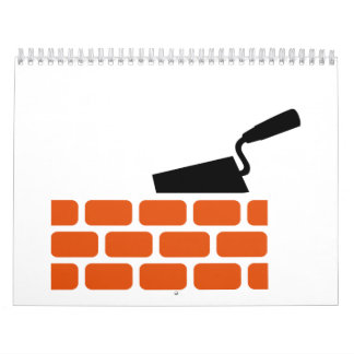 Mason brick wall trowel wall calendar