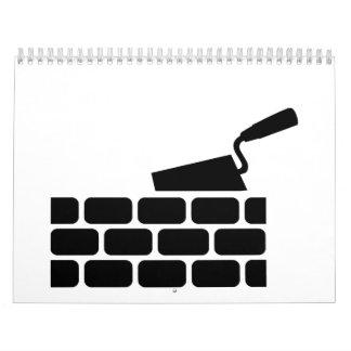 Mason brick wall trowel calendar